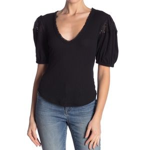 Free People Black St. James Top Size M